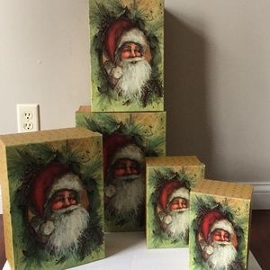 Old world Santa Christmas nesting boxes